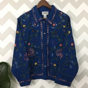 Boho silk hippie chic embroidered button up top
